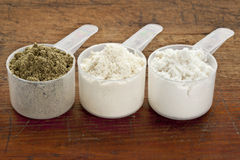 Scoops of protein powder Stock Image