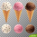 scoops réalistes de crème glacée du vecteur 3d dans des cônes d'une gaufre avec des raisins secs, fraise de fruit, chocolat illustration libre de droits