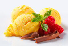 Scoops of yellow ice cream Royalty Free Stock Image