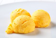 Scoops of yellow ice cream Stock Images
