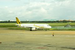 Scoot Airlines airplane at the tarmac Stock Photo