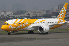 Scoot Boeing 787 Dreamliner airplane Royalty Free Stock Images