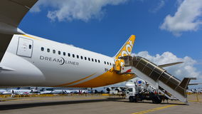 Scoot Boeing 787 Dreamliner on display at Singapore Airshow Stock Photo