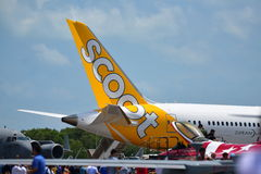 Scoot Boeing 787 Dreamliner on display at Singapore Airshow Stock Images
