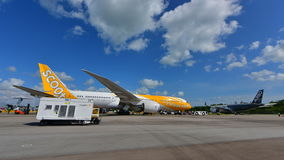 Scoot Boeing 787 Dreamliner on display at Singapore Airshow Stock Image
