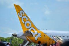 Scoot Boeing 787 Dreamliner på skärm på Singapore Airshow Royaltyfria Foton