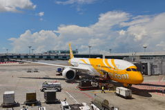 Scoot new Boeing 787-9 Dreamliner at Changi Airport Stock Photo