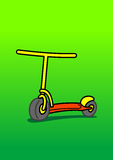 Scooter. Red and yellow scooter on green place stock illustration