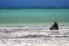 scooter in the beach of zanzibar Stock Image