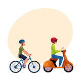 Scooter and bicycle riders, drivers, riders wearing helmet, side vew Royalty Free Stock Photos