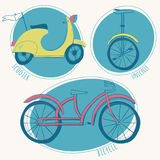 Scooter, bicycle and unicycle set . Vector illustration Royalty Free Stock Photo