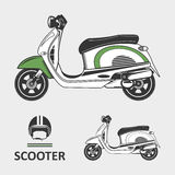 Scooter bike with helmet. Isolated vector sketch of retro scooter Stock Photo