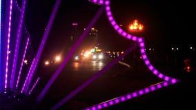 Scooter Car Night Traffic along City Street in Vietnam stock video footage
