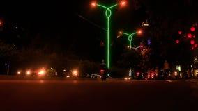 Scooter Car Night Traffic along City Street in Vietnam stock footage