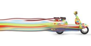 Scooter coloré heureux avec de longues traînées superbes illustration stock