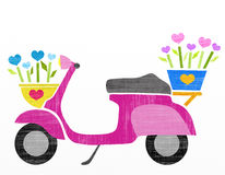 Scooter with colorful flowers Royalty Free Stock Photo