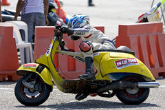 Scooter cornering Stock Photo