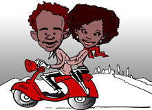 Scooter and African-Latino Diversity Couple Cartoon Royalty Free Stock Photography