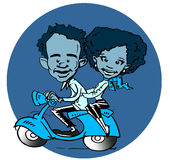 Scooter and African-Latino Diversity Couple Cartoon Stock Image