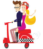 Scooter couple Stock Image