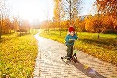 Scooter d'équitation en parc ensoleillé d'automne Images libres de droits