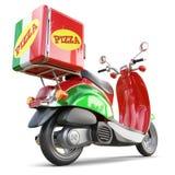 Scooter de pizza de la livraison dans le style iatalian avec la boîte Photos libres de droits