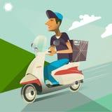 Scooter de tour de garçon Service de distribution Photographie stock