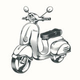 Scooter de vecteur, vélomoteur dessiné en à l'encre noire Images stock