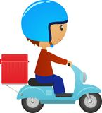 Scooter delivery icon. Delivery person on retro scooter fast service icon  on white background vector illustration Royalty Free Stock Photos