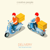 Scooter delivery man flat 3d web isometric infographic concept Stock Images