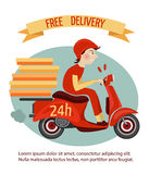 Scooter delivery poster Royalty Free Stock Photos