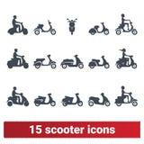 Scooter et broyé du noir avec Rider Vector Icons Illustration Libre de Droits