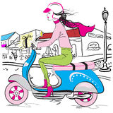 Scooter Fashion Girl Stock Images