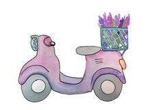 Scooter with flowers, watercolor illustration vector illustration