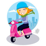 Scooter Girl. Pretty girl riding a pink scooter with blue helmet, green scarf and leather gloves stock illustration