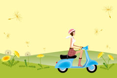 Scooter Girl on Dandelion Seeds Royalty Free Stock Photography