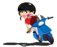 Scooter Girl using phone. Pretty Italian girl on a scooter uses her mobile phone stock illustration