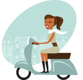 Scooter girl. Young girl driving scooter in the city vector illustration