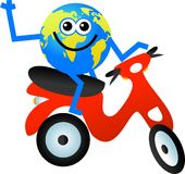 Scooter globe Royalty Free Stock Photos