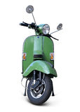 Scooter. Green scooter front view with realistic shadows over a white background - Includes separate clipping paths Stock Photo