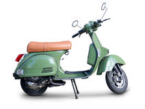 Scooter. Green scooter side view with stand and realistic shadows over a white background - Includes separate clipping paths Royalty Free Stock Photo