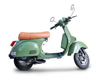 Scooter. Green scooter side view without stand and realistic shadows over a white background - Includes separate clipping paths Stock Photos