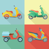 Scooter icon flat set Royalty Free Stock Photo