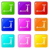 Scooter icons 9 set. Scooter icons of 9 color set isolated vector illustration Royalty Free Illustration