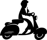 Scooter lady silhouette Royalty Free Stock Image