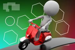 Scooter long, the concept speed in traffic , 3d illustration Royalty Free Stock Image