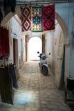 Scooter in Medina Walkway. Traditioinal Arabic Medina Enclosed Street Royalty Free Stock Photos