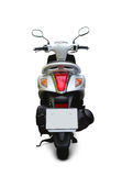 Scooter. Modern white scooter back view with parking stand and realistic shadows over a white background - Includes separate clipping paths royalty free stock photo