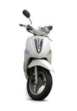 Scooter. Modern white scooter front view with realistic shadows over a white background - Includes separate clipping paths Royalty Free Stock Photos