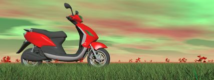 Scooter in nature - 3D render Stock Photography
